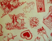 VALENTINE'S Fabric ~ Hearts ~ Valentine's Toile ~ Vintage Valentine's Day ~ Old Fashioned Storybook ~ Red and White ~ Retro ~ Romantic
