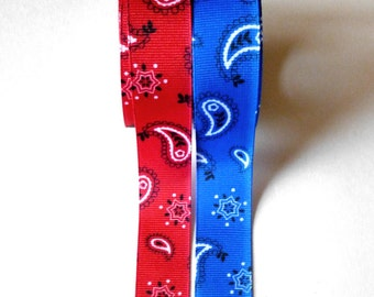 Bandana Grosgrain Ribbon, Cowboy, Western, Red or Blue Paisley Print Ribbon,  5 YARDS,  7/8 inches wide,  Red and Blue Bandana Style Ribbon,