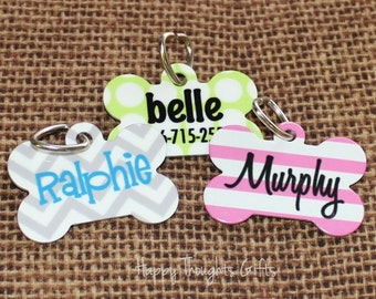 Personalized Pet Tag - Bone Shaped Dog Tag - ID Tag - Personalized - Choose Your Design