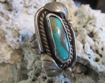 Vintage Sterling Silver Green Turquoise Ring Turquoise Jewelry Native American