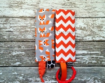 Foxes & Orange Chevron Car Seat Strap Covers