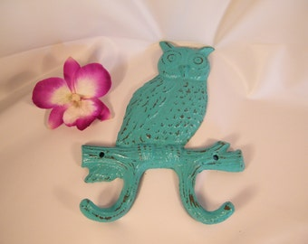Turquoise Green Wall Hook / Owl / Double Wall Hook / Key Holder / Lodge Cabin Decor / Cast Iron / Rustic Bright Decor / Ready To Ship