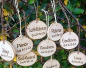 Fruits of the Spirit Wooden Tree Slice Christmas Ornament Gift Tag Rustic Country Cottage Farmhouse Inspired