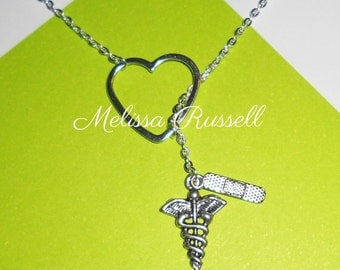 Medical, Nurse, Athletic Trainer, Doctor Lariat Necklace with Heart, Band aid, and Caduceus Charms, Handmade Jewelry, gifts for her, mom