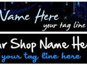Ready Made Electric Neon Blue Black Shop Banner- Pick one
