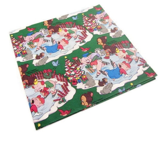 Vintage Wrapping Paper - Merry Christmas Three Little Pigs Full Sheet Gift Wrap - Disney Gift Wrap - Bongo Bear Thumper