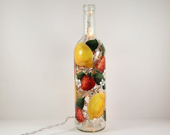Strawberry Lemonade- Hand Painted Wine Bottle Light with Strawberries and Lemons, Yellow, Red and Green Decor, Kitchen Art, Hostess Gift