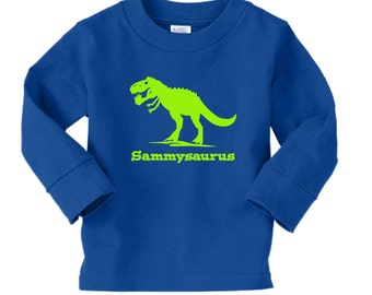 T Rex dinosaur long sleeved shirt - any name - pick your colors!