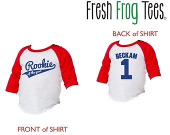 First Birthday Personalized Rookie of the Year 3/4 sleeve raglan shirt for babies - pick your colors!