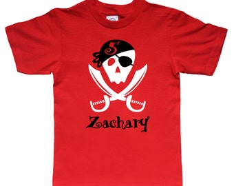 Personalized Pirate Birthday Shirt - Pirate Sword Shirt - pick your colors!