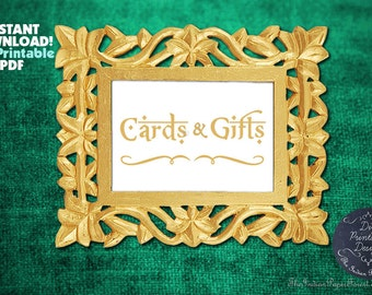 PRINTABLE Gold Cards & Gifts Sign Indian Wedding Calligraphy Instant Download Boho Chic DIY Decor Signage Table Setting Rustic Script Thai