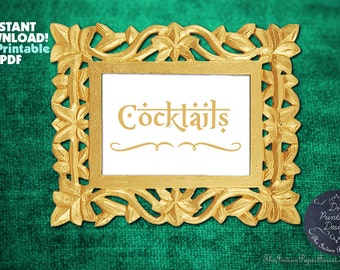 Indian Wedding Gold PRINTABLE Cocktails Sign Instant Download 2 size 5x7 8x10 DIY Decor Signage Table Setting Idea Rustic Hindi Script Cheap