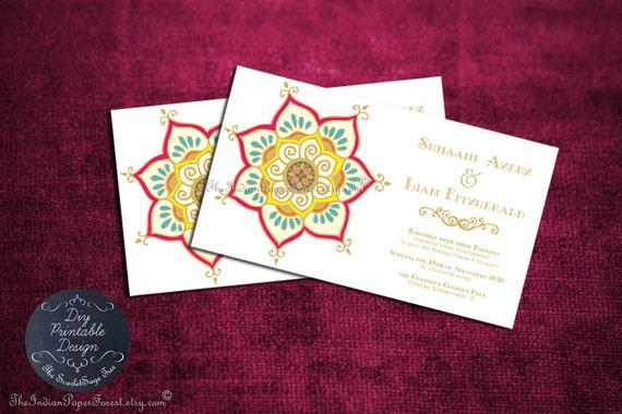 Modern Indian Wedding Invitations Uk: Printable Indian Wedding Invitation By TheIndianPaperForest