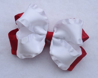 Boutique Hair Bow, 4th of July Hair Bow, Christmas Hair Bow, Valentine's Day Hair Bow, Red Boutique Bow, Double Ruffle Bow, Large Red Bow