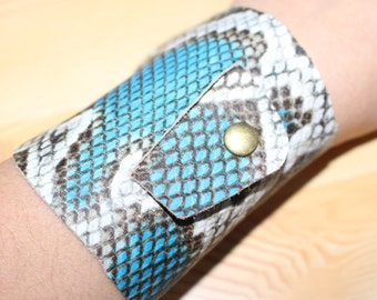 Snake cuff leather, snake print, leather cuff, leather bracelet, snake leather, blue snake, wide cuff, blue leather cuff, animal print