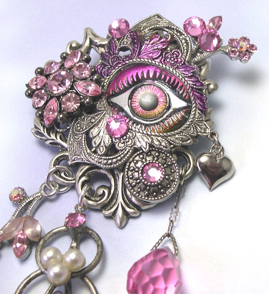 Ring In The Steampunk Decor To Pimp Up Your Home: Handmade Upcycled Pink Steampunk Eye Brooch Eye Pin Third