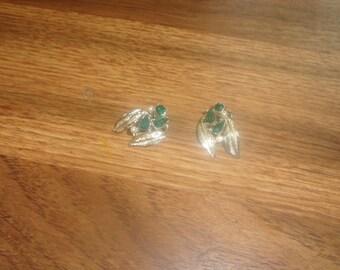 vintage clip on earrings silvertone green rhinestones