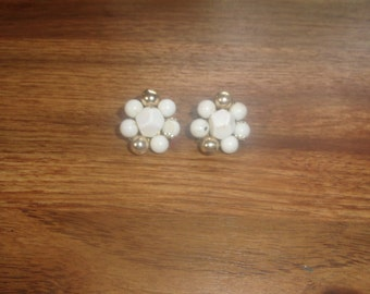 vintage clip on earrings white gold bead clusters