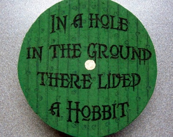 Handmade to Order, SINGLE Pyrographed, Bilbo's Bag End door from The Hobbit, natural cork coaster