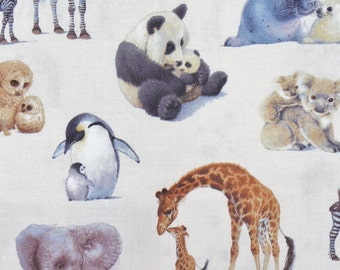 Animals Fabric, Wild Animals and Babies, Realistic Animals,  Elephants, Pandas, Owls, Giraffes, Penguins, Koalas, Elizabeths Studio, By Yard