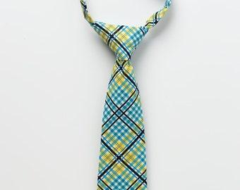 Boy Tie - Teal and Yellow Plaid - Little Boy Necktie