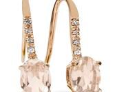 "1.25CT Morganite Diamond 14K Rose Gold Earrings 3/4"" Tall"