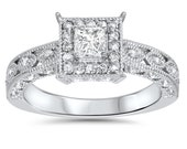 Princess Cut Diamond .60CT Vintage Engagement Ring 14K White Gold Hand Engraved Antique Milgrain Accent Detail Size 4-9