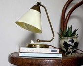 RESERVED. 1950s Table Lamp / Wall Light. Off White/ Cream and Brass. Midcentury Modern Vintage Lighting by Project Sarafan.