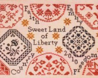 Sweet Land of Liberty sampler cross stitch pattern by Cherished Stitches at cottageneedle.com quaker 4th of July patriotic embroidery