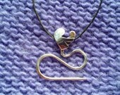 Mother/Child Sock Sized Cable Needle Necklace