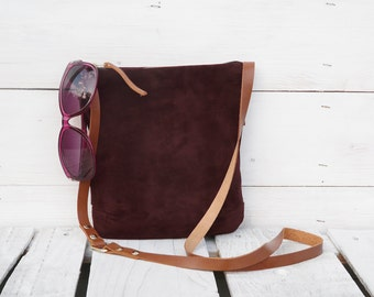 Minimalist Suede purse, leather crossbody bag, ruby-brown mini women clutch, handmade fanny pack, bohemian wallet, unique gift for womens