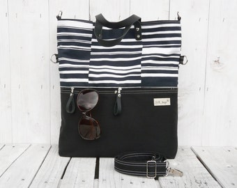Canvas tote bag, Messenger cross body, black white striped foldover bag, carry all, convertible tote bag, mothers day gift, school bag