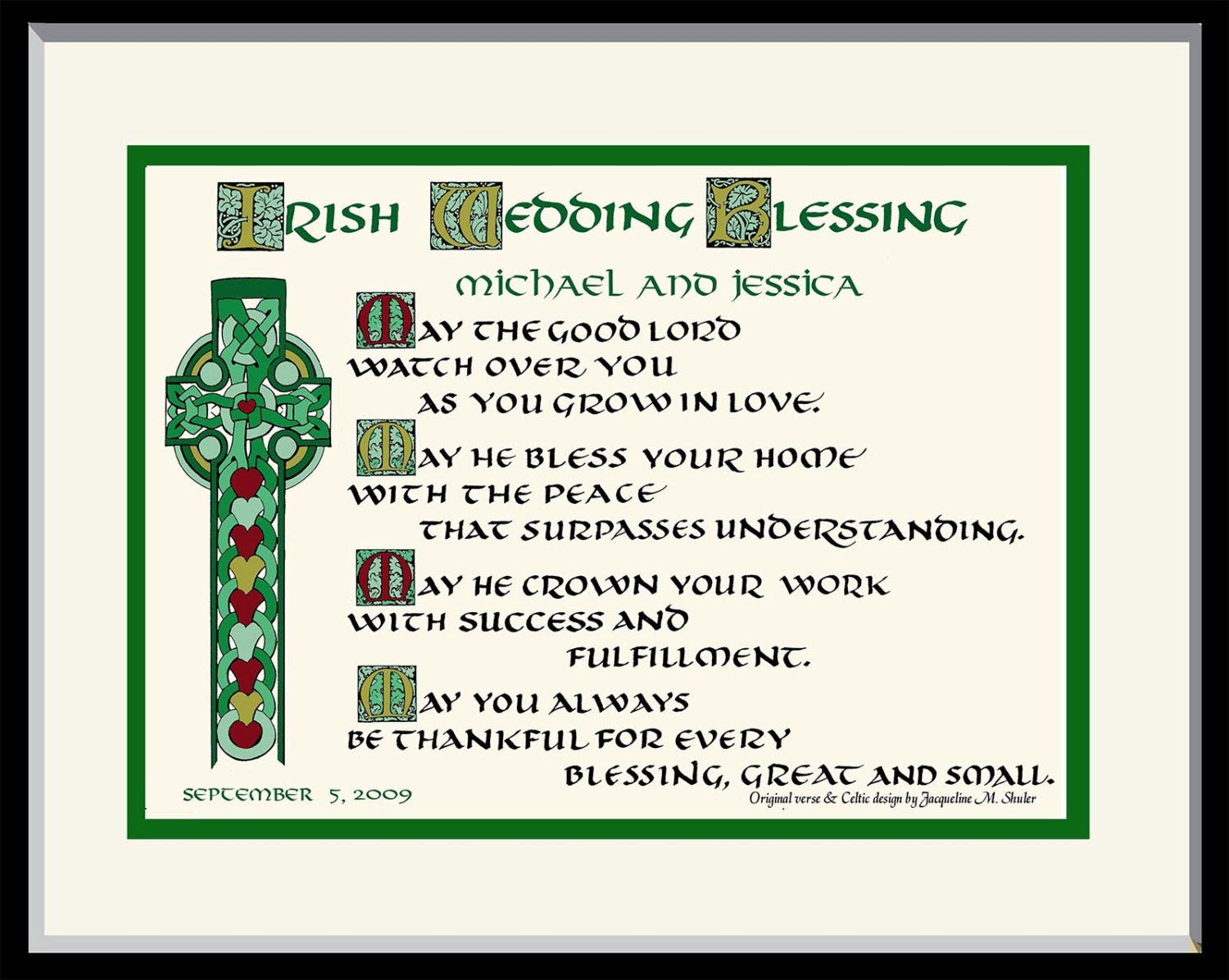 Personalized Irish Wedding Blessing Gift With Celtic