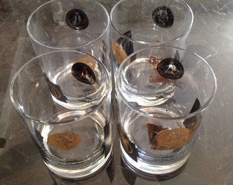 CORA Barware Set of 4 Glasses Coin Motif Vintage 1960's Cocktail