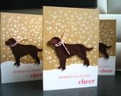 Dog Holiday Cards Set of 3, Labrador, Dog Christmas Cards Set