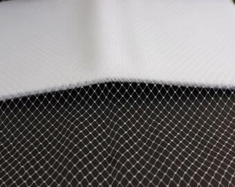 "12"" White Russian Veiling Netting  - One Yard - Bridal Fasinators, Hats"