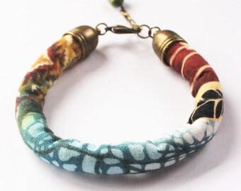 Fabric bracelet - Textile bracelet - Boho bracelet - Fabric jewelry - Textile jewelry - Womens fashion - Teen girl - Girl gift - Made in USA