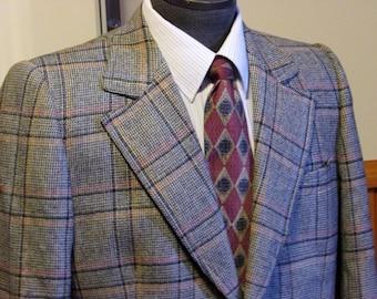 Vintage Mens Tweed Plaid Jacket, Tweed Blazer, Bespoke, Mens Plaid Window Pane Pattern Coat, 1970's Label 40 Tall, Bonus Ties Included