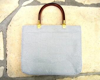 Vintage 70s White Metal Mesh & Wine Plastic Wrist-Strap Bag