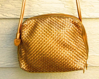 Vintage 70s Gold 'Tandem' Woven Faux Leather Cross-Body Bag