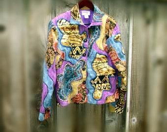 Boho Patchwork Jacket Cotton Silk size Medium