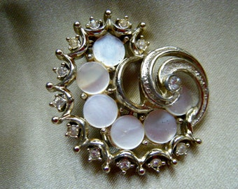 Semi Circular Mother of Pearl and Rhinestone Brooch , Gold Tone Vintage Jewelry