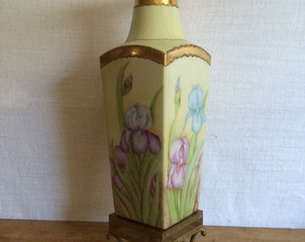 Vintage Large HandPainted Porcelain Vase With Stand Circa 1994