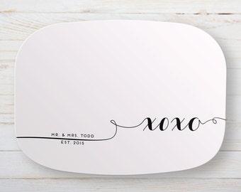 Engagement Melamine Platter - Personalized Xoxo Serving Tray - Engagement Gift - Wedding Gift