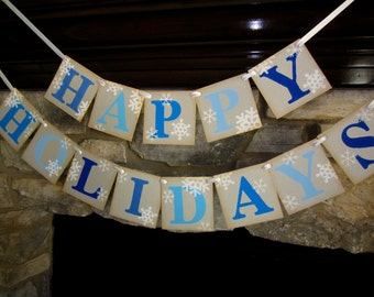 HAPPY HOLIDAYS christmas Banner / Garland / Sign / Decoration