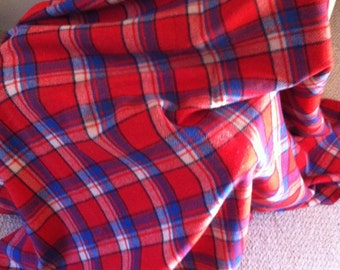 Vintage red blue plaid camp blanket
