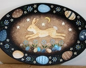 Primitive Folk Art Painting Spring Easter Oval Wooden Plate - MADE TO ORDER - Leaping Bunny, Flowers, Easter Eggs, Moon, Stars, Tulips
