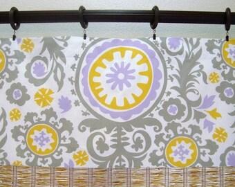 Suzani Custom Curtain Valance Kitchen Valance Modern Window Treatment 52x12 52x14 52X16 52X18