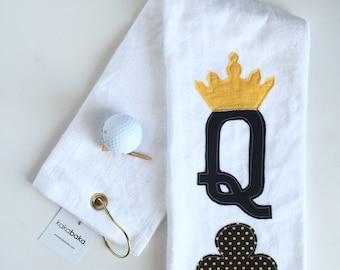 Queen of clubs ladies Golf Towel, Ladies Golf Towel, Mother's Day Gift, Teacher Gift