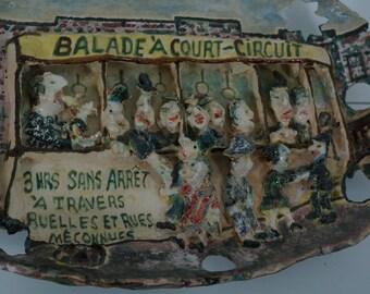 Edouard Jasmin Quebec pottery - folk art - cartoon cs